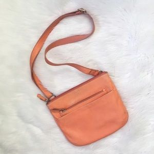 Fossil Orange Peach Crossbody Leather Purse